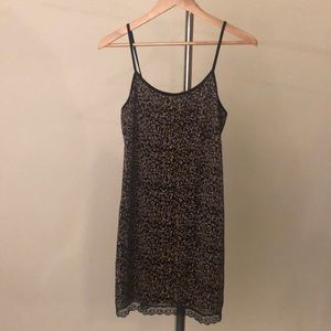 Little black pattern dress with lace on botttom